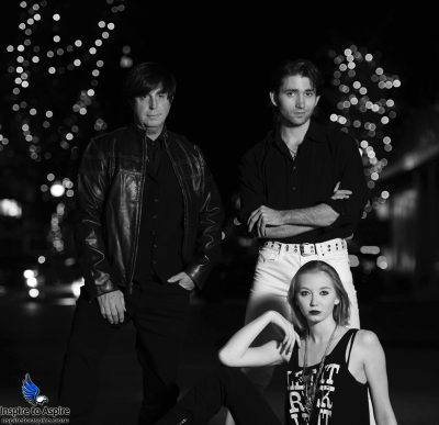 Noir Pensacola Vinyl Music Hall Night Shoot on Palafox Street. Photographer: Gary Alves. Models from left to right: Jeffery Morris, Alexander Rea, Kemi Nicole Gottschalk