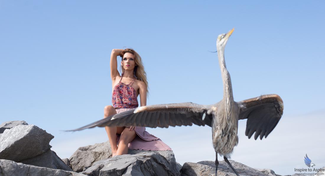 Abrey Alexandra models alongside the Great Blue Heron on the rocks of the emerald green waters of Destin, Florida